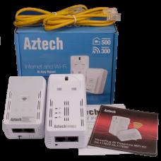 Aztech 500AV plus Wireless-N 300 Dualband Extender Powerline WiFi Starter Kit